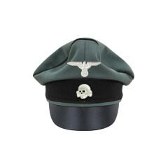 WWII German Waffen SS Gabardine Pioneer Crusher Visor Cap with insignia