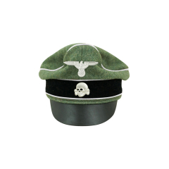 WWII German Waffen SS Wool Infantry Crusher Visor Cap with insignia