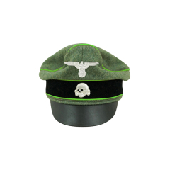 WWII German Waffen SS Wool Mountainer Crusher Visor Cap with insignia