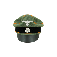 WWII German Waffen SS Wool Field Police Crusher Visor Cap with insignia