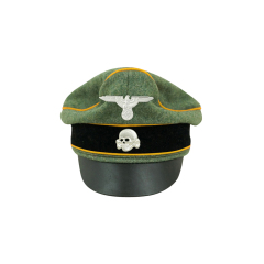 WWII German Waffen SS Wool Cavalry / Recon Crusher Visor Cap with insignia