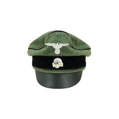 WWII German Waffen SS Wool Pioneer Crusher Visor Cap with insignia
