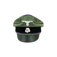 WWII German Waffen SS Wool Chaplains Crusher Visor Cap with insignia