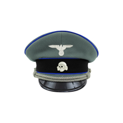 WWII German Waffen SS Medical officer Gabardine Visor cap with insignia