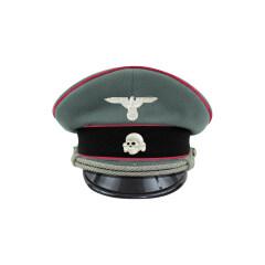 WWII German Waffen SS Panzer officer Gabardine Visor cap with insignia
