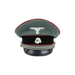 WWII German Waffen SS Artillery officer Gabardine Visor cap with insignia