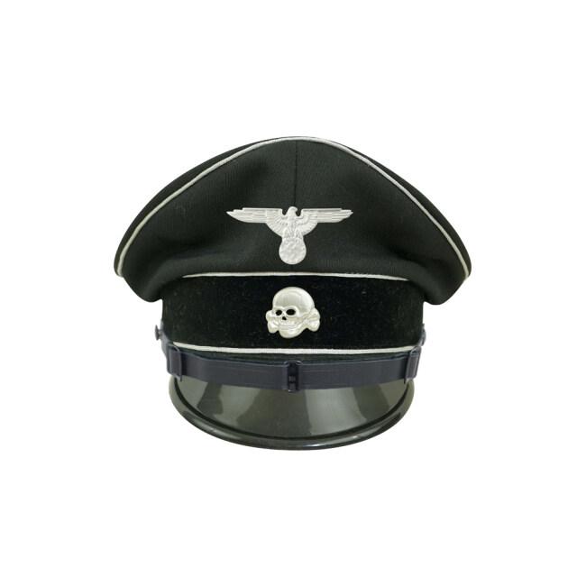 WWII German Allgemeine SS EM/NCO black Gabardine Visor cap with insignia