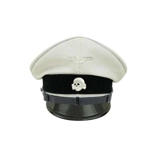 WWII German Allgemeine SS EM/NCO white cotton Visor cap with insignia
