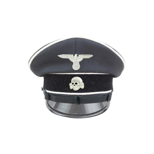 WWII German Allgemeine SS EM/NCO black Gabardine Visor cap II with insignia
