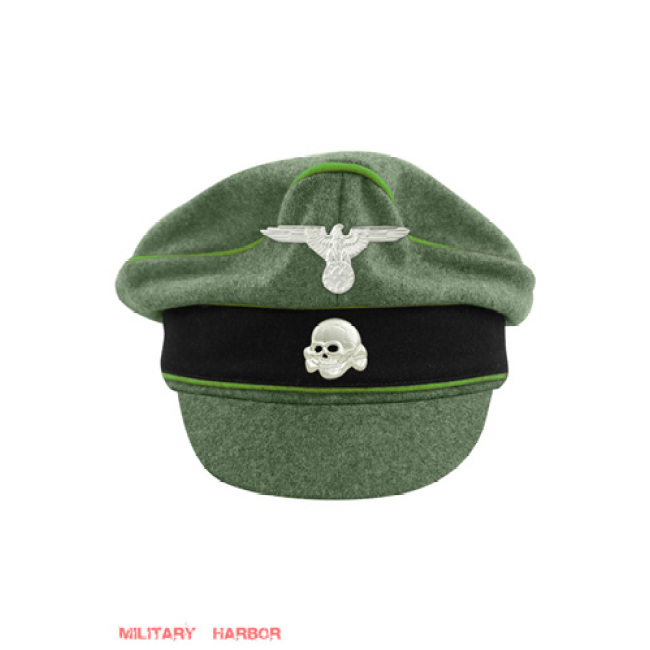 WWII German Waffen SS M37 Wool Mountainer Crusher Visor Cap with insignia