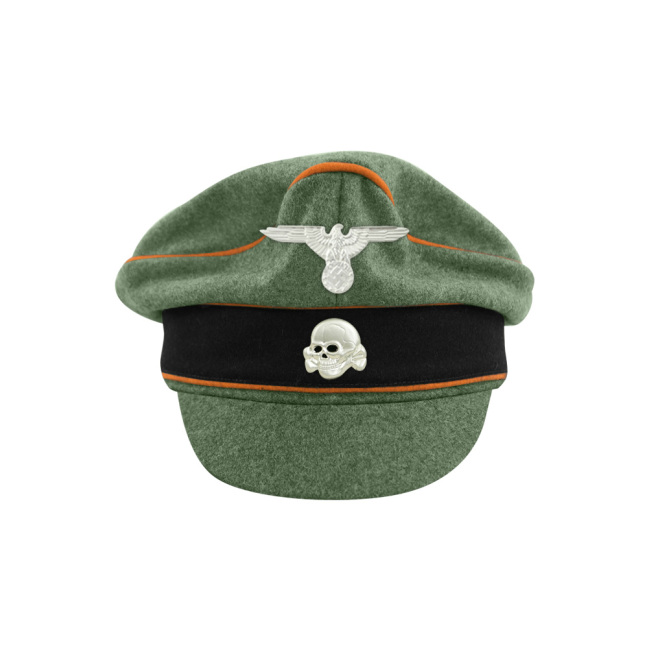 WWII German Waffen SS M37 Wool Field Police Crusher Visor Cap with insignia