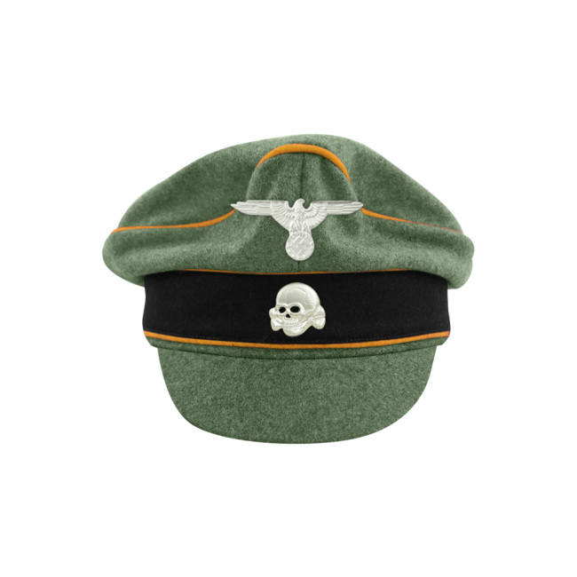 WWII German Waffen SS M37 Wool Cavalry / Recon Crusher Visor Cap with insignia