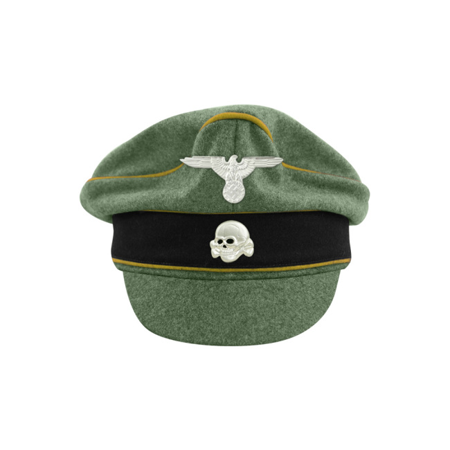 WWII German Waffen SS M37 Wool Signal Crusher Visor Cap with insignia
