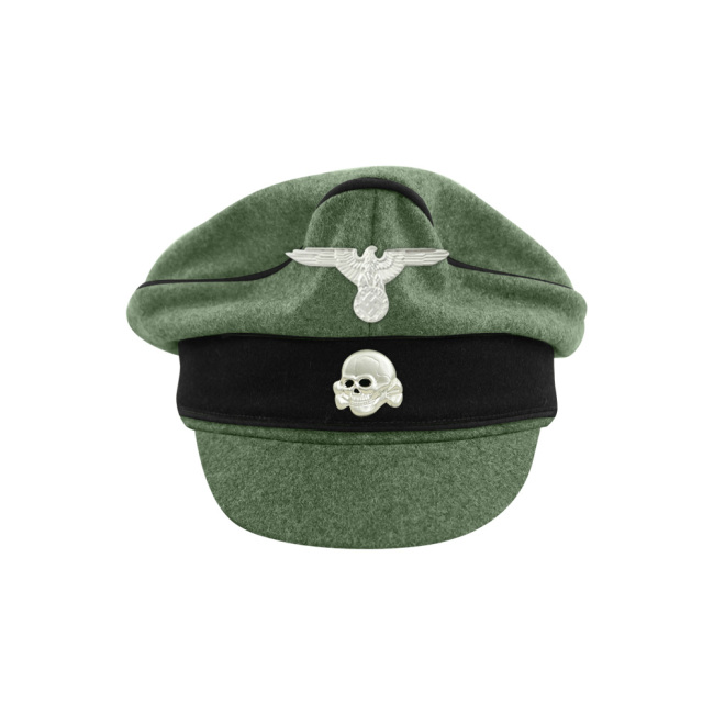 WWII German Waffen SS M37 Wool Pioneer Crusher Visor Cap with insignia
