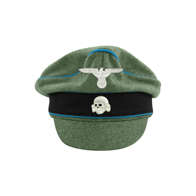 WWII German Waffen SS M37 Wool Transport Unit Crusher Visor Cap with insignia