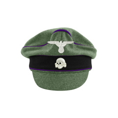 WWII German Waffen SS M37 Wool Chaplains Crusher Visor Cap with insignia