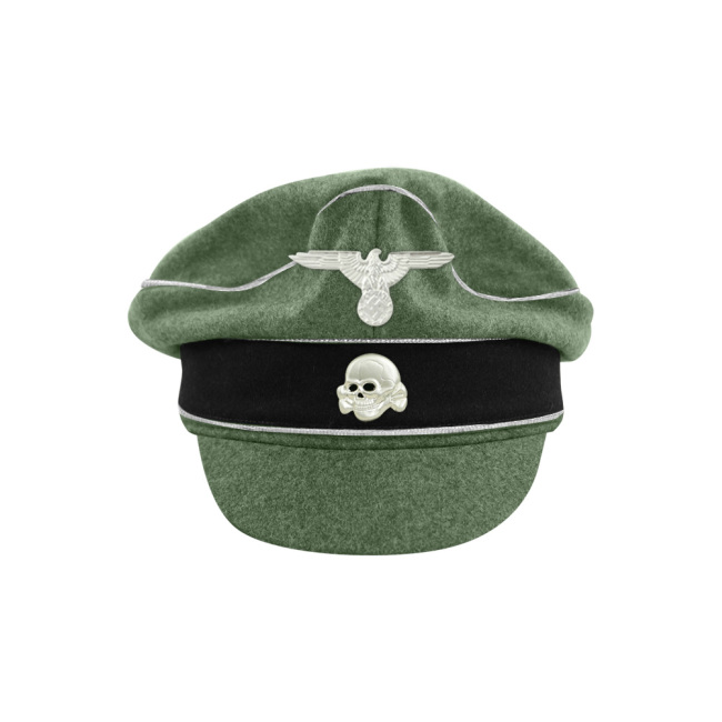 WWII German Waffen SS M37 Wool Officer Crusher Visor Cap with insignia