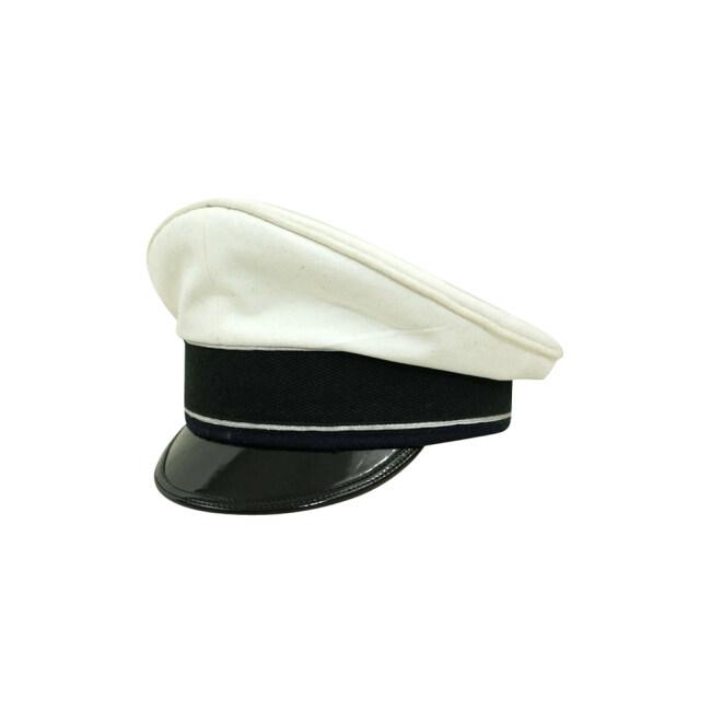 WWII German Luftwaffe Officer summer white Cotton Visor cap