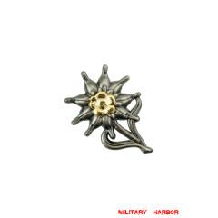 WWII German Mountain Officer Metal Edelweiss Cap Badge Warfare