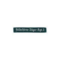 WWII German Luftwaffe Fallschirmjäger Rgt.3 EM dark green backing cuff title