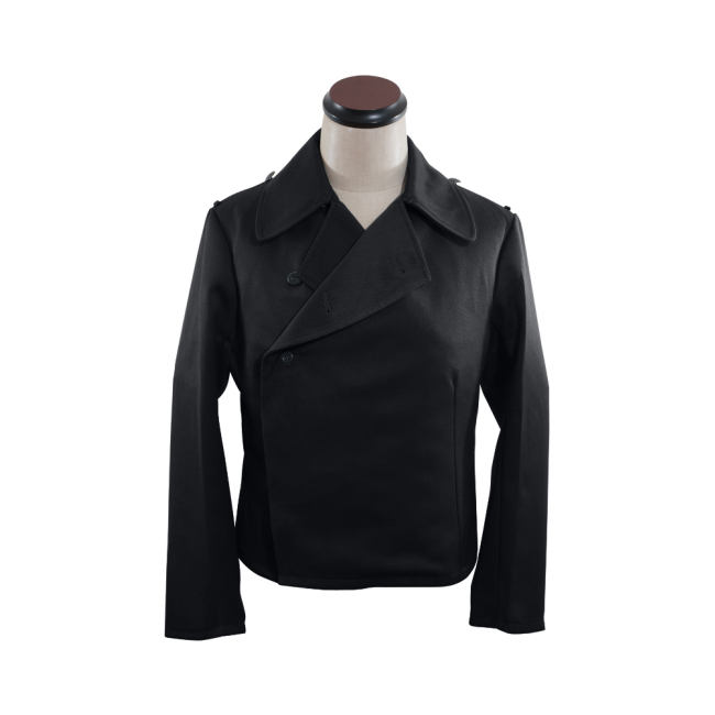 WWII German Heer panzer EM black gabardine wrap jacket