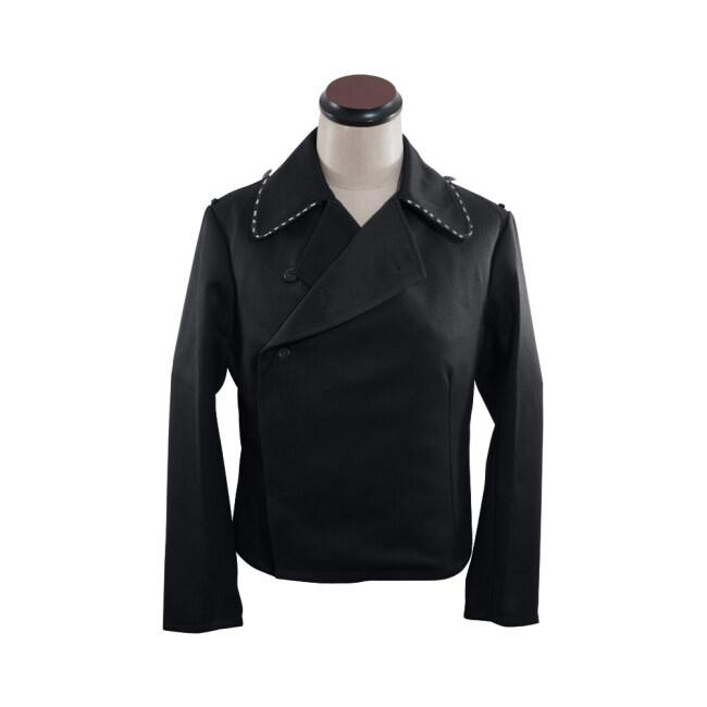 WWII German Heer pioneer panzer black gabardine wrap jacket