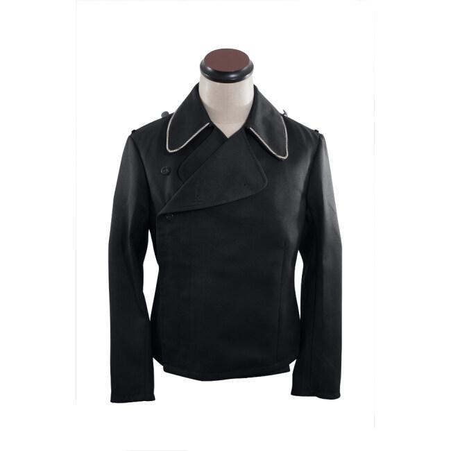 WWII German SS panzer officer black gabardine wrap jacket