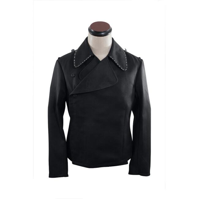 WWII German SS pioneer panzer black gabardine wrap jacket