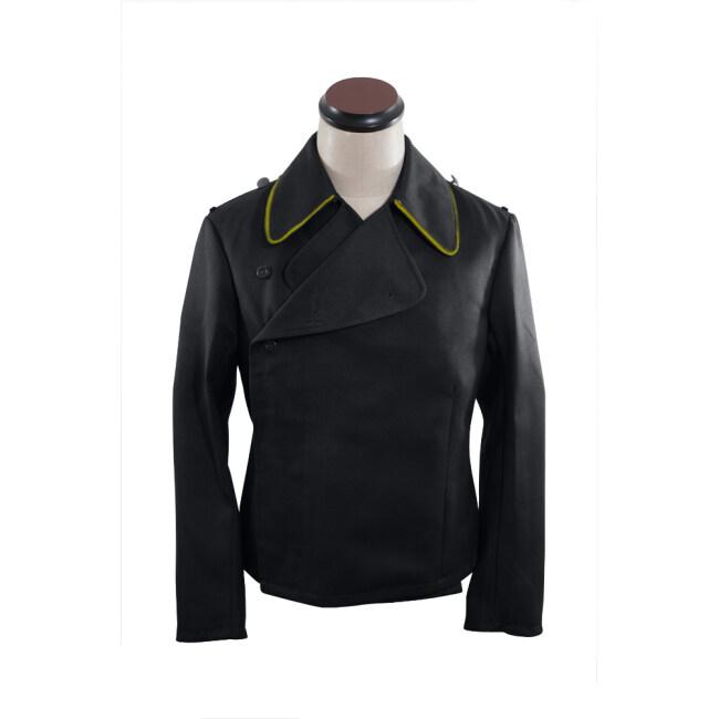 WWII German SS signal panzer black gabardine wrap jacket