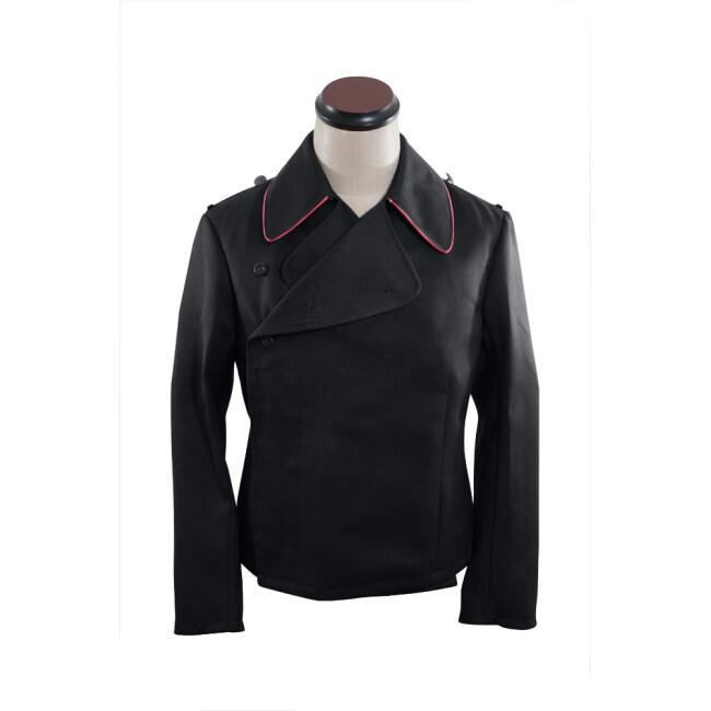 WWII German SS hot pink collar thread panzer black gabardine wrap jacket