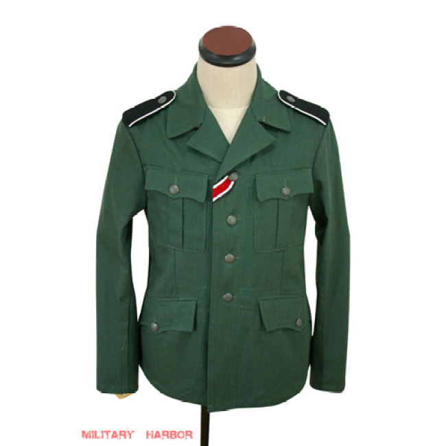 WWII German M37 SS-VT EM summer HBT reed green field tunic