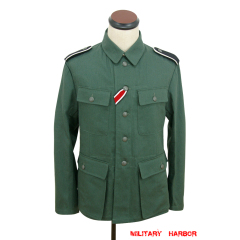 WWII German M43 SS summer HBT reed green field tunic