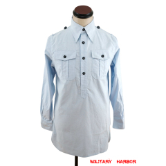 WWII German Luftwaffe Light Blue Long Sleeve Service Shirt