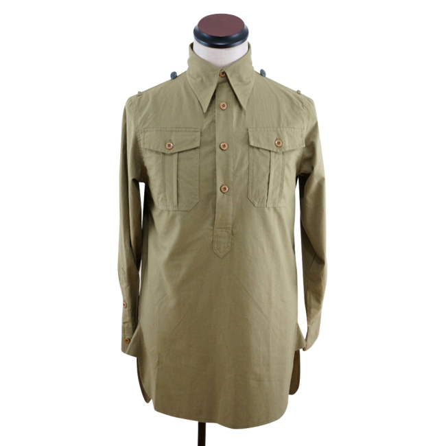 WWII German DAK Heer / SS Brown Long Sleeve Service Shirt
