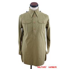 WWII German DAK Heer / SS Brown Long Sleeve Service Shirt