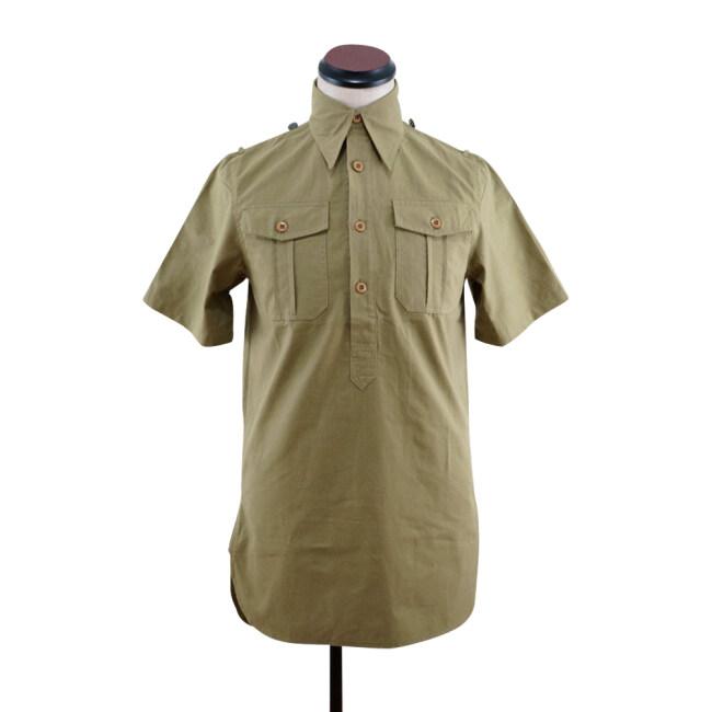 WWII German DAK Heer / SS Brown Short Sleeve Service Shirt