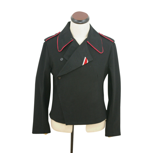 WWII German Heer hot pink collar thread panzer black wool wrap/jacket