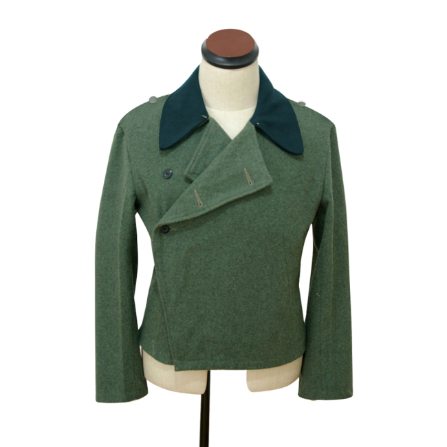 WWII German Heer assault gunner field wool deep green collar wrap jacket