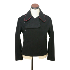 WWII German SS hot pink collar thread panzer black wool wrap jacket