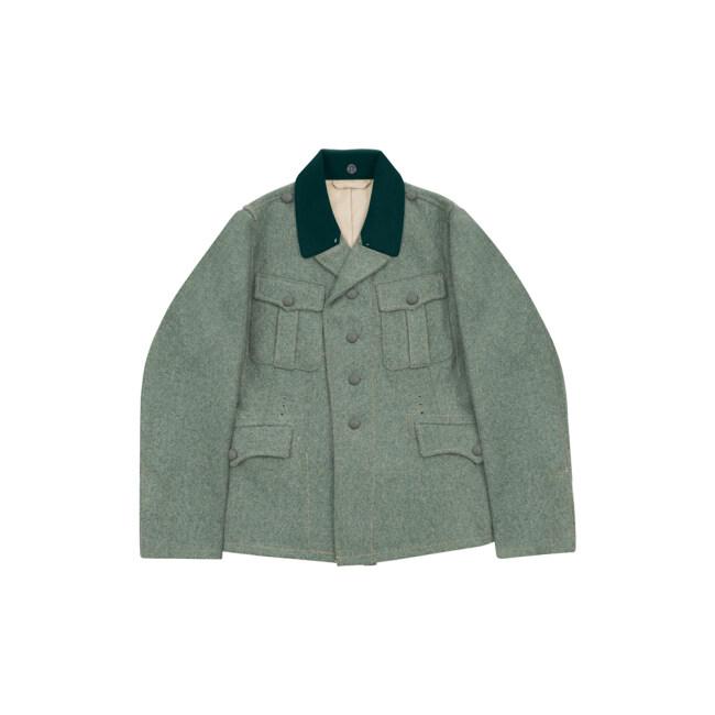 WWII German M37 SS EM fieldgrey wool tunic Feldbluse deep green collar