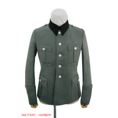 WWII German SS M36 officer Gabardine black collar service tunic Jacket