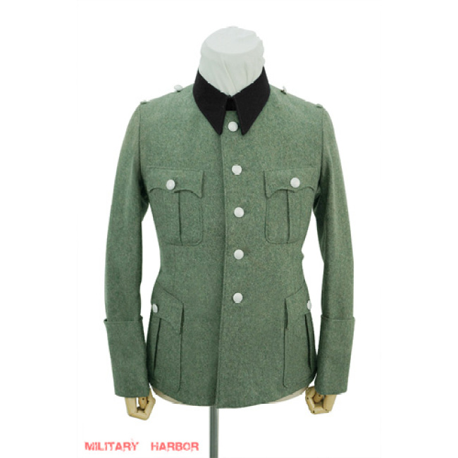 WWII German SS M36 officer wool service tunic Jacket black collar