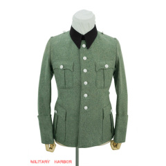 WWII German SS M41 officer wool service tunic Jacket black collar