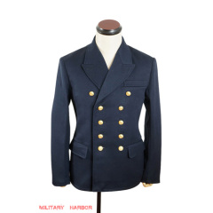 WWII German Kriegsmarine officer navy blue Gabardine Reefer tunic jacket