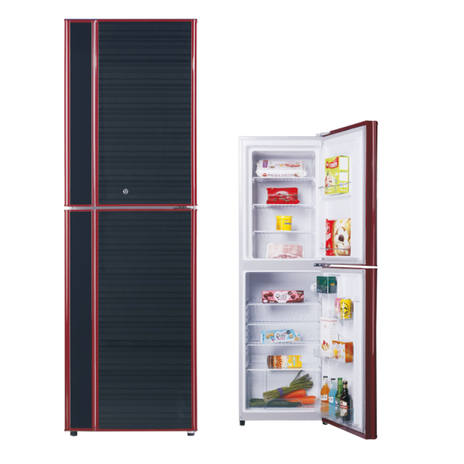 276L Top Freezer Glass Panel Colorful Refrigerator with Double Doors