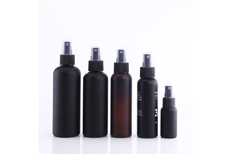 Matte black PET bottle with screw-on mist sprayer