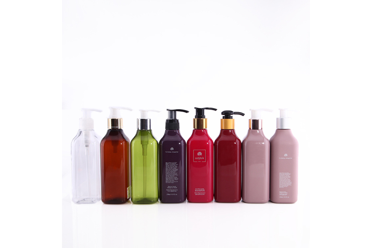 Square bottom PET bottle with different color and lotion pump