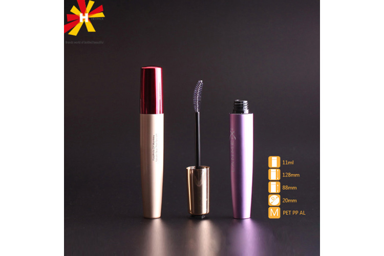 Crooked brush gold rose color mascara tube