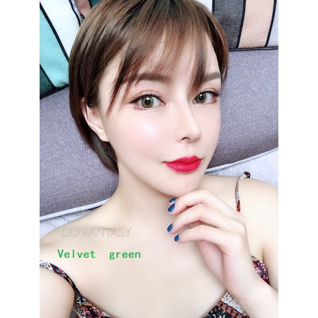 new arrival DD FANTAS Velvet green  color contact lens contact lenses hot selling cosmetic soft lens