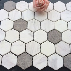 Polished Hexagon  marble mosaic wall tile
